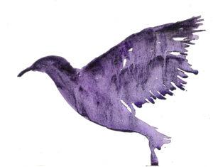Purple Bird. Watercolor on watercolor paper. Janice Greenwood.