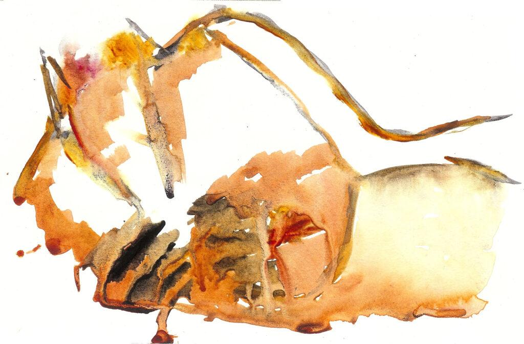 Reclining Nude. Watercolor on Mixed Media Paper. Janice Greenwood. Original Art.