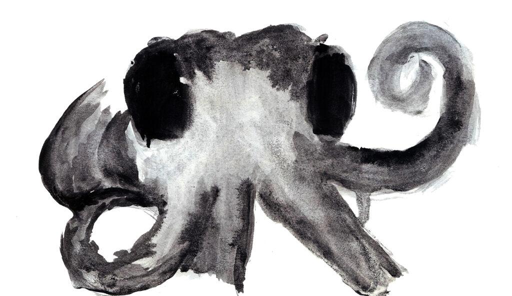 Octopus. Watercolor. Janice Greenwood. Original Art.