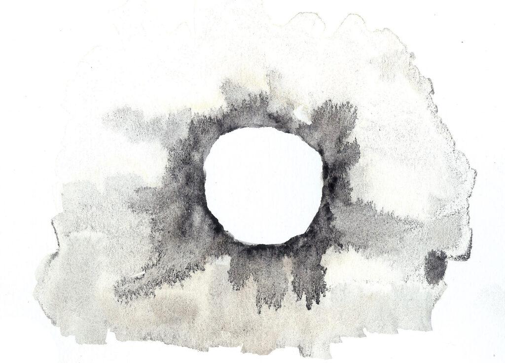 Solar Eclipse. Watercolor. Janice Greenwood. Original Art.