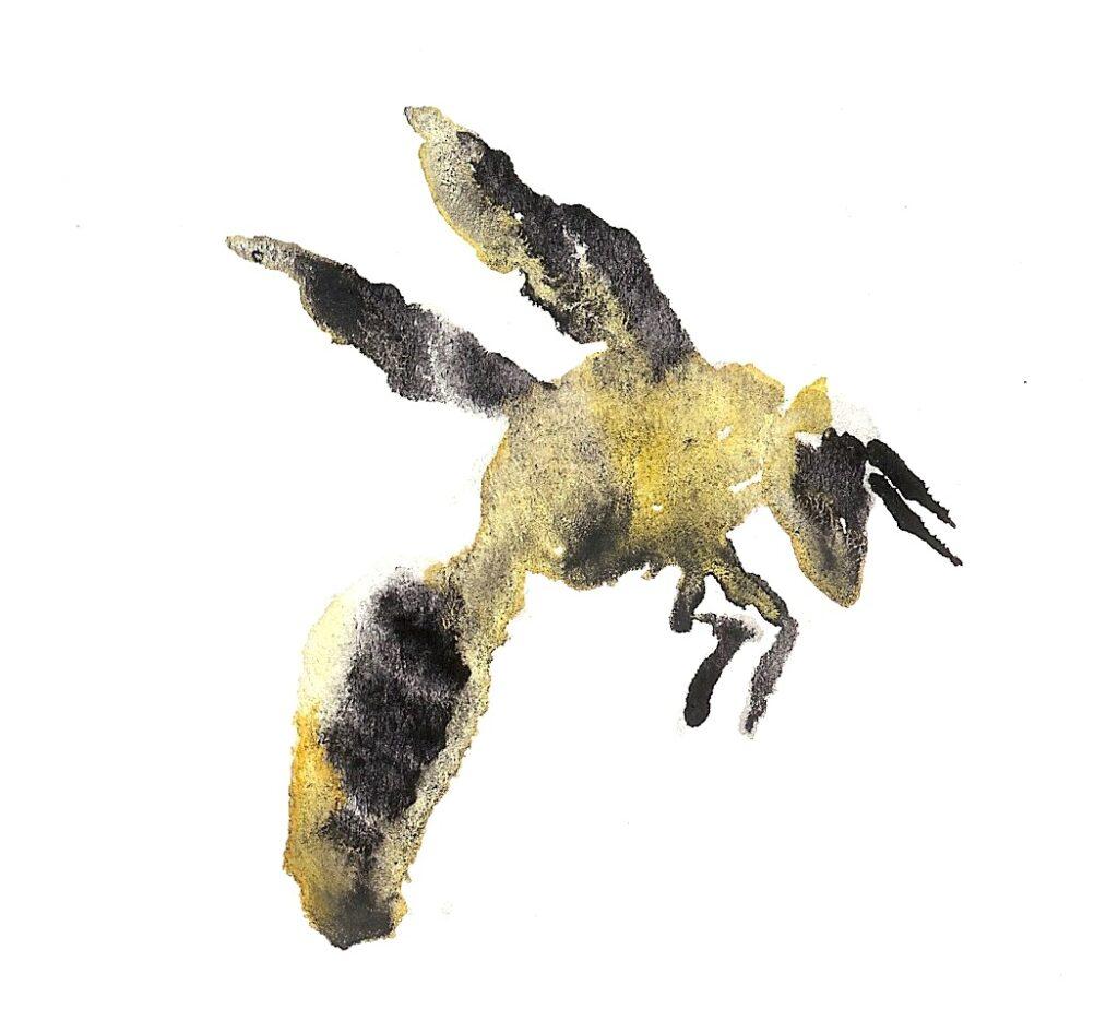 Yellow Bee. Watercolor. Janice Greenwood. Original Art.