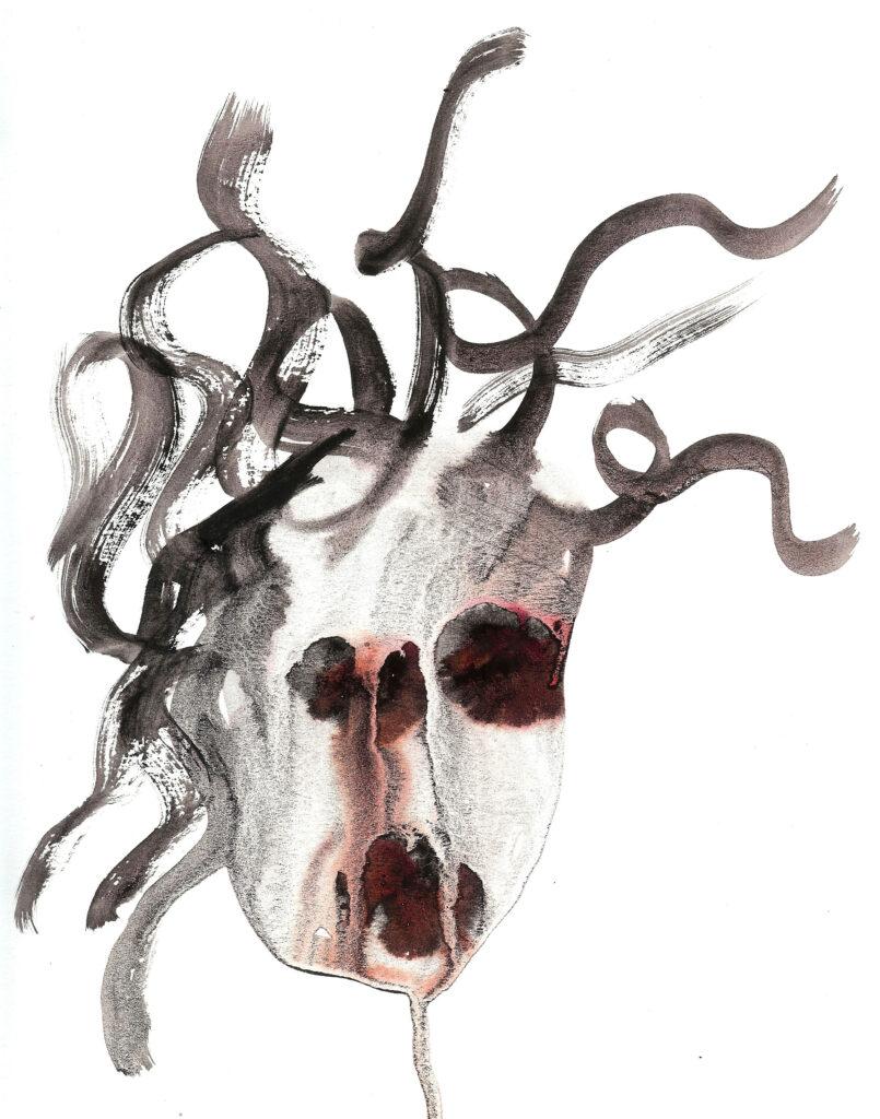 Self-Hating Medusa. Watercolor. Janice Greenwood. Original Art.