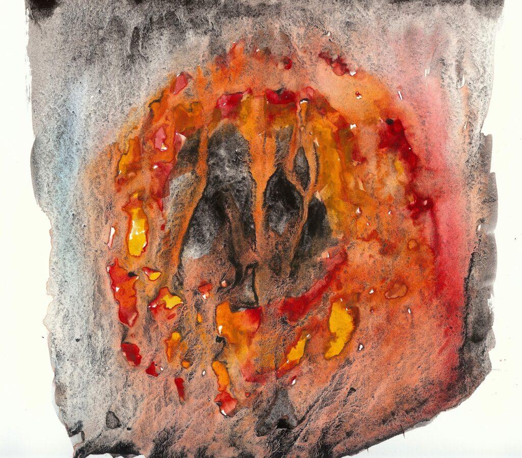 Fire. Watercolor. Janice Greenwood.