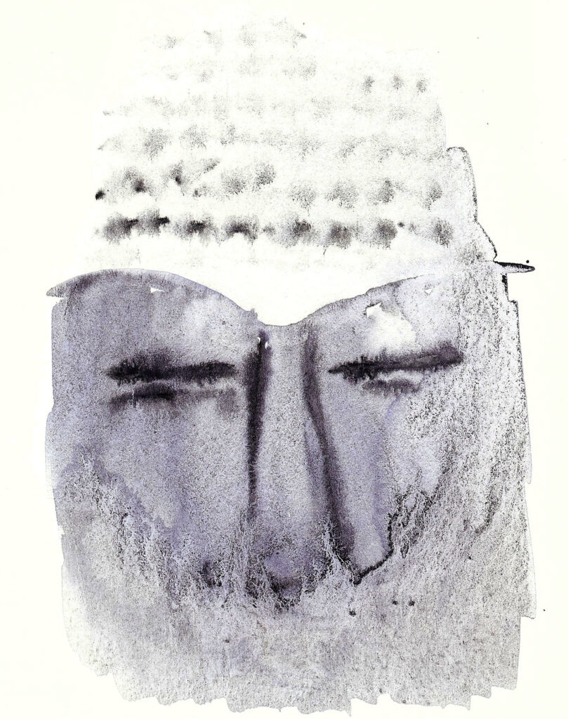 Decaying Buddha. Watercolor. Janice Greenwood. Original Art.