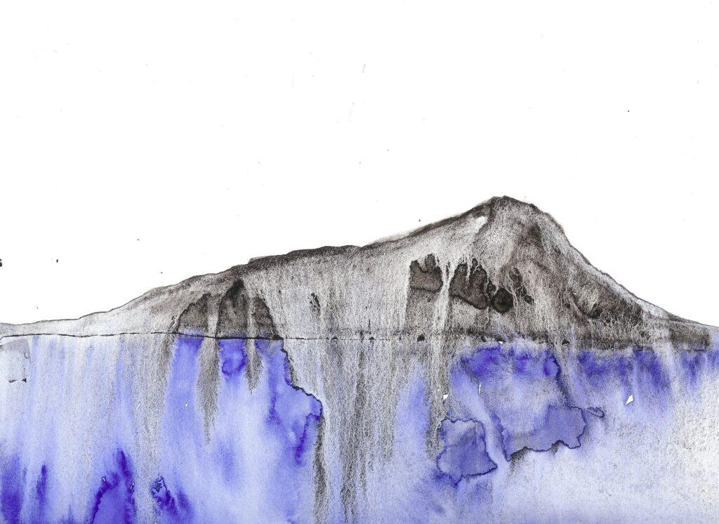 Diamond Head Runoff. Watercolor. Janice Greenwood. Original Art.