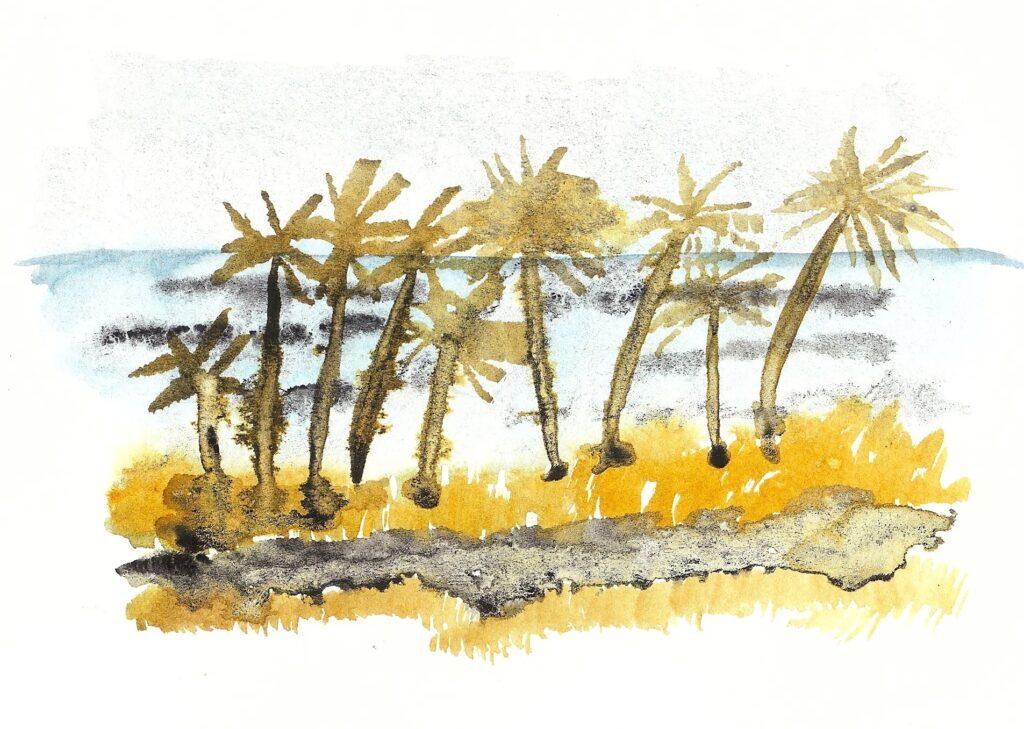 Waha'ula Heiau. Watercolor. Janice Greenwood. Original Art.